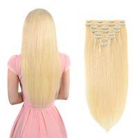 613 Cabelo humano clipe em extensões Remy clipe em extensões de cabelo humano loira para mulheres sedosa cabelo brasileiro