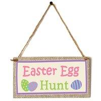 Décoration de Pâques pour maison suspendue en bois pendentif de lapin ornement joyeux fête de Pâques portes murale décoration signe cadeau enfants 20x10cm EEF4928