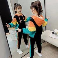 Meninas Moda Hoodies Calças 2pcs Roupa Define Primavera Outono Crianças da camisola do esporte Roupa Set adolescente crianças Fatos 3-12tX1019