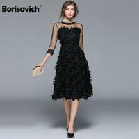 Борисович роскошные женские вечерние платья новое поступление 2017 весна мода кисточкой O-шеи элегантное черное женское платье T200106