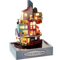 CuteBee diy دمية دمية خشبية دمية المنازل مصغرة مع الأثاث كيت لعب للأطفال السنة الجديدة هدية عيد Casa LJ201126