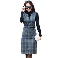 2021 새로운 여성 봄 가을 조끼 V 넥 스트랩 빈티지 민소매 포켓 격자 무늬 여성 슬림 벨트 ES Vestidos Y547 XR2S