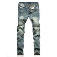 AirGracias Jeans Men Classic Mens Jeans Color Blue Color Cotton Ripped Hole Jeans para Hombres Brand Designer Biker Jean Pantalones largos 201120