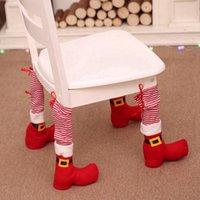 크리스마스 의자 발 커버 레드 스트라이프 레스토랑 테이블 발 커버 가정 용품 테이블 의자 보호 질감 Xams 장식 RRA3681 커버