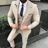 Slim fit beige beige 3 pezzo tuta uomo matrimonio smokings brighesment smoksmen abiti uomini business party ball blazer (giacca + pantaloni + cravatta + Vest11