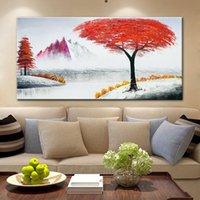 Arthyx pintado a mano pinturas de aceite de paisaje rojo en lienzo Moderno Abstracto Arte grande Imagen de la pared para la sala de estar Decoración del hogar