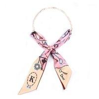 Autre écharpe de soie polyvalente Tempéramament Femme Pearl Petite Shopee Simple Pocket imprimé Square Femmes Bijoux Cadeau1