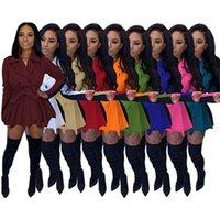 Mujeres más tamaño Mini vestidos ocasionales espesar otoño invierno ropa cálida vacaciones fiesta vestido sexy club vestido de noche solapa cuello moda 0770