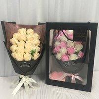 Commercio all'ingrosso 18 pz creativo profumato sapone artificiale fiori rose bouquet scatola regalo simulazione rosa San Valentino giorno regalo di compleanno decor