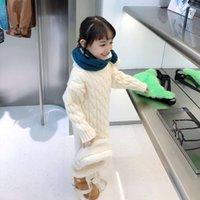 Maglione a maglia Qinqi Drs Winter Girls 'Collo rotondo per bambini Slitto SL SLessinato Baby Slip Skirt Skirt Cum5298B