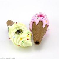 4.3 인치 아이스크림 디자인 실리콘 핸드 파이프 건조 허브 실리콘 흡연 파이프 유리 봉 식품 학년 실리콘 무료 배송