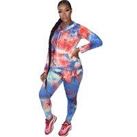Новый женский костюм Tie-окрашенных толстовки Топы и брюки Леггинсы двухкусочный Эпикировка с капюшоном Спортивная с длинным рукавом Повседневная одежда Set LY10133