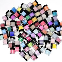 Nail art kits acrílico pó conjunto 10 pcs um pacote mergulhando poeira para decoração 10g / jar 10 cor de cor / pacote esculpido padrão manicure