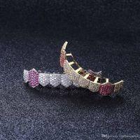 Hip Hop Parrillas dientes de 8 dientes micro-incrustados circón de circón de una sola fila de plata de oro inferior.