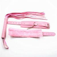 2 Stück / Set Lederpeitsche Sex Prügler + Lederhandschellen für Sex Handschellen Bdsm Bondage Toys für Paare