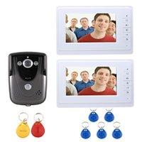 Görüntülü Kapı Telefonları Toptan Kablolu 7 Inç Telefon İnterkom Giriş Sistemi Ile 2 Beyaz Monitör + Kapı Zili Kamera 1