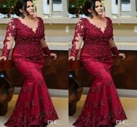 Vintage Borgonha mangas compridas Prom mãe da noiva Vestidos 2022 Plus Size Lace Frisado Lantejoulas Evening Tapete Vermelho Vestidos formais vestido