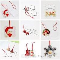 DHL Sublimation Ornements de Noël Vierge ronde Square Snow Shase Décorations Forme de neige MDF Version à chaud Imprimer Vierge Coaster Multi-styles FY4266