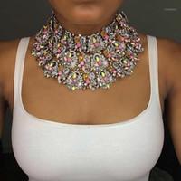 Girlgo 2020 طبقات الأزياء كريستال chocker قلادة المرأة الزفاف سحر بيان كبير حجر الراين قلادة قلادة مجوهرات bijoux1