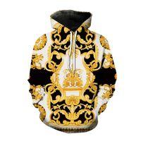 Herbst winter mode hoodies stil 3d bedruckte sweatshirt männer frauen golden übergroß hoodie hip hop pullover unisex mantel