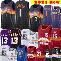 2021 Devin 1 بوكر جيرسي كريس 3 بول نيكولا 15 كرة السلة Jokic Jersey جمال 27 موراي الفانيلة الرجعية شبكة ستيف 13 ناش جيرسي
