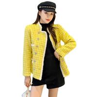 2021 New Luxury Herbst Winter Tweed Gelbe Jacke Mantel Runway Frauen Zweireiher Diamanten Plaid Dicke Woolen Oberbekleidung
