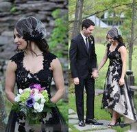 2021 Heißer Verkauf Land Spitze Hi-lo Brautkleider Sexy Gothic Black Long Garden Brautkleider A-Zeile Boho Robe de Mariee