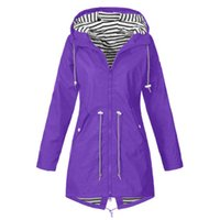 2020 Winter-Frauen mit Kapuze Mantel Windsicher Regen Mantel Parka Zip-Jacken-Graben Windjacke Outwear warme Kleidung Street S-5XL
