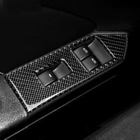 Pour Ford Mustang 2009-2013 en fibre de carbone Lève-vitre de fenêtre commutateur de commande de décoration intérieure Panneau Accoudoirs Garniture Accessoires voiture