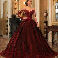 Luxuoso Borgonha Vestidos de Noite 2021 Ilusão Pescoço Mangas compridas A linha Lace Plus Size Vestidos de Gala Long Formal Party Vestidos Lady Dress