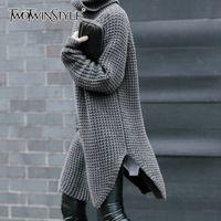TWOTWINSTYLE Kore Yan Bölünmüş Bayan Triko Turtleneck Uzun Kollu Sıcak Kalın Kadın Triko Sonbahar Kış Moda Yeni 201012