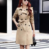 Women Casual Solid Color Double Breasted Outwear Fashion Sashes Office Coat Design Long Trench