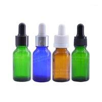 0.5 أوقية الزجاج ماصة زجاجة 15ML العنبر / الأزرق / واضح / الأخضر الضروري النفط العطور الزيوت الزيت
