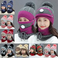 Winter Women Mask Collar Hat 3pcs set Warm Wool Beanies Skul...