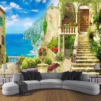 Carta da parati personalizzata Sfondi Home Decor Giardino Seascape 3D Space stereoscopico Spazio fotografico per soggiorno camera da letto sfondo1