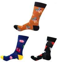 남성 양말 코튼 남성 유행 재미있는 컬러 가을 겨울 인쇄 캐주얼 해피 캐릭터 서양 긴 큰 크기 승무원 socks1