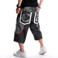 Été lâche jambe large homme courte jeans hip-hop skateboard skateboard swag baggy capri pantalon noir shorts de grande taille 30-461