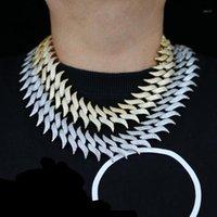 30mm largeur Miami Prong Cubain Chain Link Colliers de couleur or 3 rangées Colliers de hip glaçons glacé pour les chaînes de fête de Mens1