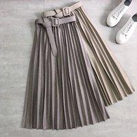 2020 mujeres de invierno faldas plisadas cinturón pesado de lana gruesa espeso herringbone midi flashes oficina señora alta cintura a-line long long skater j0118