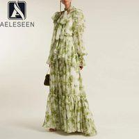 AELEESEEN RAUTWAY Mode Frauen Kleid Designer Neue Rüschen Grüne Blume Print Laterne Hülse Cascading Maxi Party Elegante Kleider