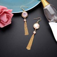 Dangle Chandelier Kissme Natural Round Orecchini a goccia di perle coltivati per le donne Catene di ottone di colore lungo in oro nappa 2021 gioielli di moda