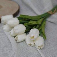 10 шт. Искусственный тюльпан Цветы Лонг Стем Букет Реальный сенсорные моделирования Цветы для домашней комнаты Вечеринка Свадебное украшение1