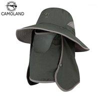 Ampla borda chapéus Camoland verão UPF50 + Sol para Mulheres Homens Bucket Chapéu com Pescoço Flap Proteção UV Ao Ar Livre Longa Caminhadas Pesca Caps1