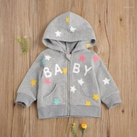 Toddler Baby Girls Boys Casual Hooded Zipper Cardigan Letter...