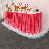 Gonna da tavolo in chiffon organza in organza per tavolo da tavolo Party Wedding Birthday Party Baby Shower Banchetto Decorazione per banchetti Skirting1