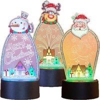 5d diy خاصة شكل الماس اللوحة الاكريليك أدى ضوء وسادة ثلج الماس التطريز ديكور المنزل عيد الميلاد ليلة ضوء مصباح 201203
