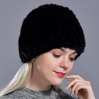 Beanie / Crânio Tampas Inverno Das Mulheres Chapéus Natural Pele Real Cap De Malha Fashionable Fluffy Senhoras Genuíno Beanie Feminino Preto