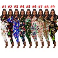 Frau Weihnachten drucken Hosen Startseite Overall Weihnachtskleidung Overall-Spielanzug Striped Elk One Piece-Partei kleidet 2020 D102301