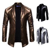Moda nova coloração sólida personalidade zíper design macio casaco casual casaco de couro manga longa homens