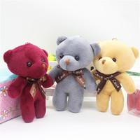 20 stücke 12cm kleine gefüllte mini teddybären dekoration schlüsselkette anime anhänger spielzeug plüsch rosa grau braun bunte teddies bär y0106
